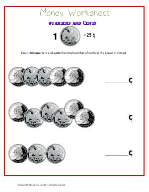 Preview image for worksheet with title Quarters and Cents
