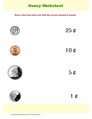 Preview image for worksheet with title Money Worksheet