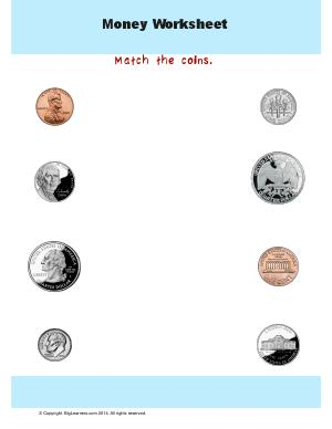 Preview image for worksheet with title Money Worksheet : Match the Coins