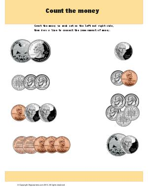 Preview image for worksheet with title Count the Money