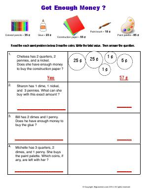 compare amounts shopping time first grade math worksheets biglearners. Black Bedroom Furniture Sets. Home Design Ideas