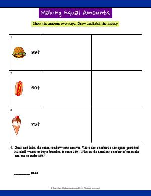 Preview image for worksheet with title Make Equal Amounts