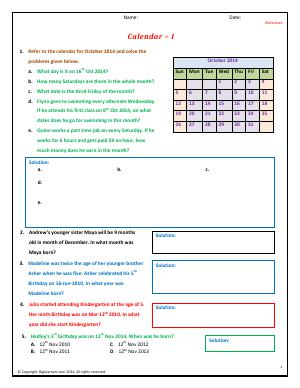 Preview image for worksheet with title Calendar - I