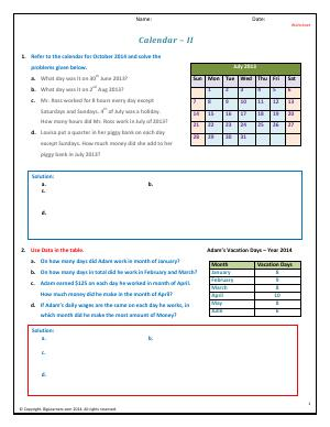 Preview image for worksheet with title Calendar - II