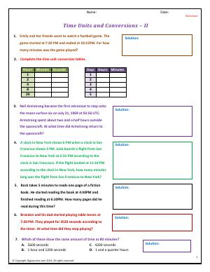 time units and conversions fourth grade math worksheets biglearners. Black Bedroom Furniture Sets. Home Design Ideas