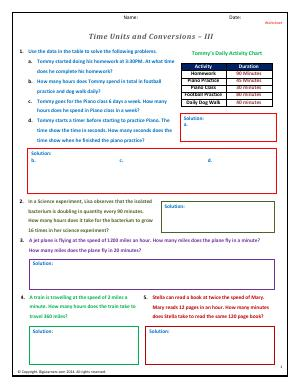 Preview image for worksheet with title Time Units and Conversions - III