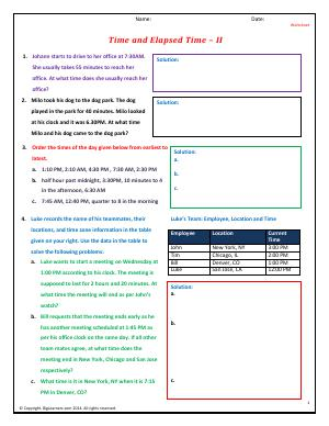Preview image for worksheet with title Time and Elapsed Time - II