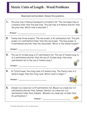Preview image for worksheet with title Metric Units of Length - word problems