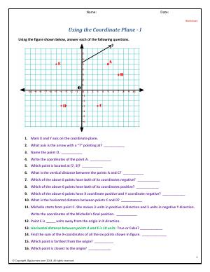 Preview image for worksheet with title Using the Coordinate Plane - I