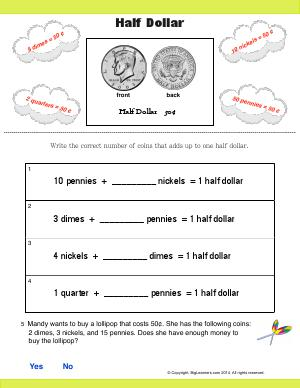 Preview image for worksheet with title Half Dollar