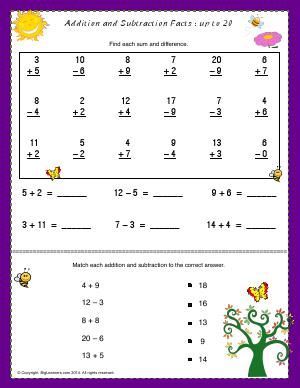 Preview image for worksheet with title Addition and Subtraction Facts - Up to 20