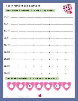 Preview image for worksheet with title Count Forward and Backward