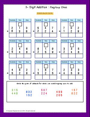 regroup ones regroup tens second grade math worksheets biglearners. Black Bedroom Furniture Sets. Home Design Ideas