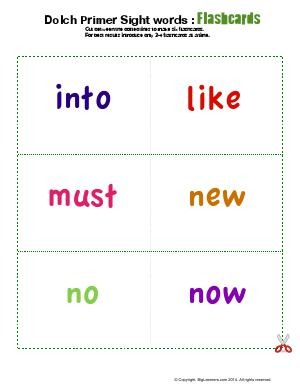 Preview image for worksheet with title Dolch Primer Sight Words : Flashcards