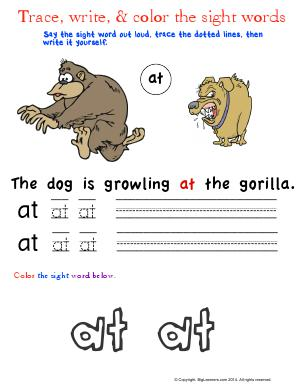 Preview image for worksheet with title Trace, Write, and Color the Sight Words