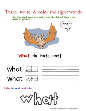 Preview image for worksheet with title Trace, Write, & Color the Sight Words