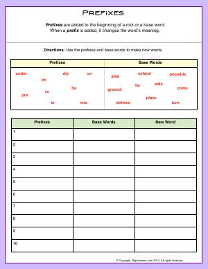 Preview image for worksheet with title Prefixes