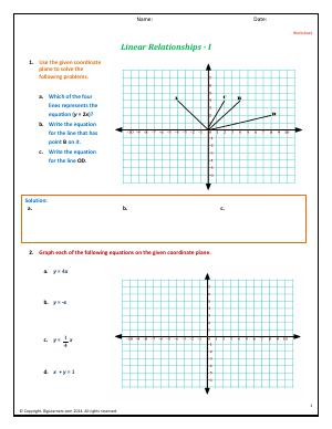 Preview image for worksheet with title Linear Relationships - I