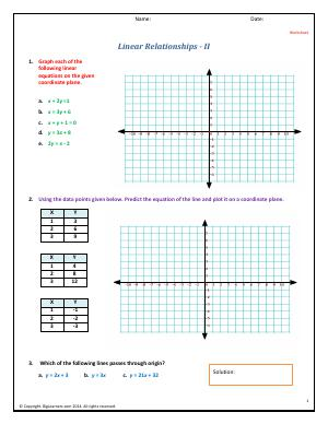 Preview image for worksheet with title Linear Relationships - II