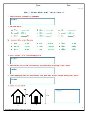 metric linear units and conversions fourth grade math. Black Bedroom Furniture Sets. Home Design Ideas