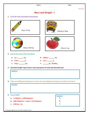 Preview image for worksheet with title Mass and Weight - I