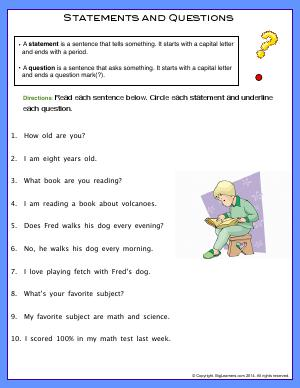 Preview image for worksheet with title Statements and Questions