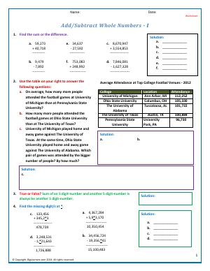 Preview image for worksheet with title Add/Subtract Whole Numbers - I