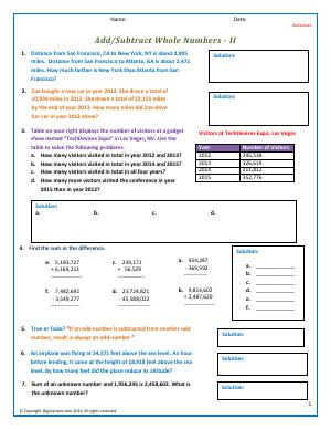 Preview image for worksheet with title Add/Subtract Whole Numbers - II