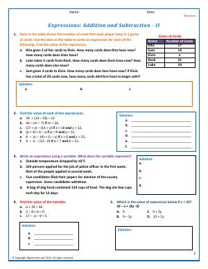 Preview image for worksheet with title Expressions: Addition and Subtraction - II