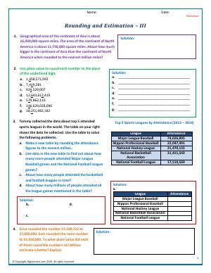 Preview image for worksheet with title Rounding and Estimation - III
