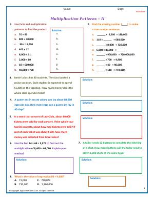 Preview image for worksheet with title Multiplication Patterns - II