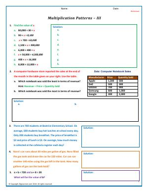 Preview image for worksheet with title Multiplication Patterns - III