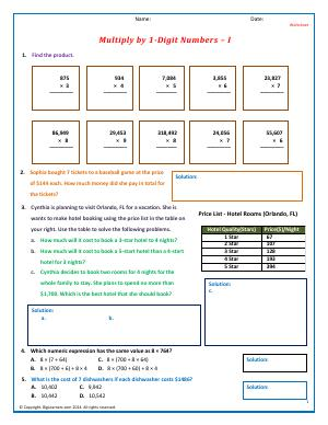 Preview image for worksheet with title Multiply by 1-Digit Numbers - I