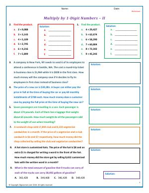 Preview image for worksheet with title Multiply by 1-Digit Numbers - II