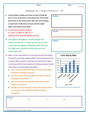 Preview image for worksheet with title Multiply by 1-Digit Numbers - III