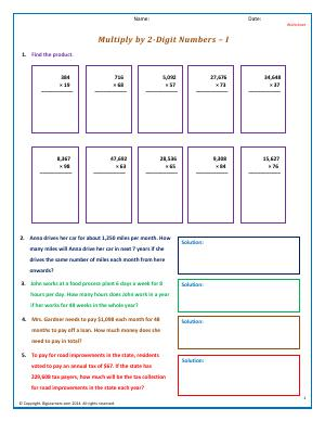 Preview image for worksheet with title Multiply by 2-Digit Numbers - I
