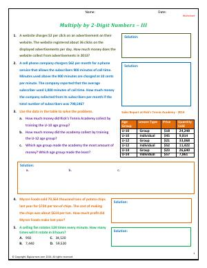 Preview image for worksheet with title Multiply by 2-Digit Numbers - III