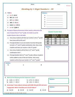 Preview image for worksheet with title Dividing by 1-Digit Numbers - III