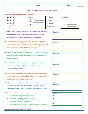 Preview image for worksheet with title Quotients and Remainders - I