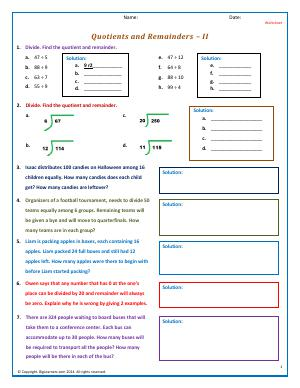 Preview image for worksheet with title Quotients and Remainders - II