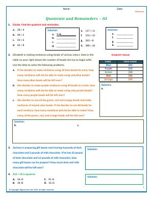 Preview image for worksheet with title Quotients and Remainders - III