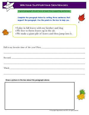 Preview image for worksheet with title Writing Supporting Sentences
