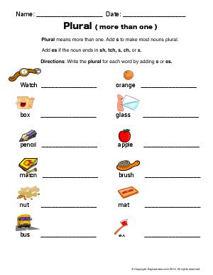 Preview image for worksheet with title Plural (more than one)