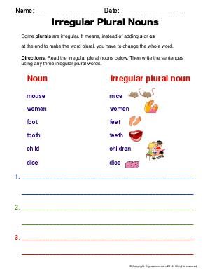 Preview image for worksheet with title Irregular Plural Nouns