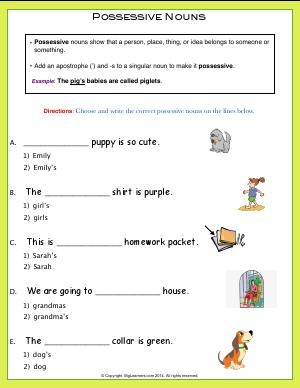Preview image for worksheet with title Possessive Nouns