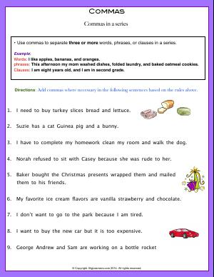 Preview image for worksheet with title Commas (Commas in a series)