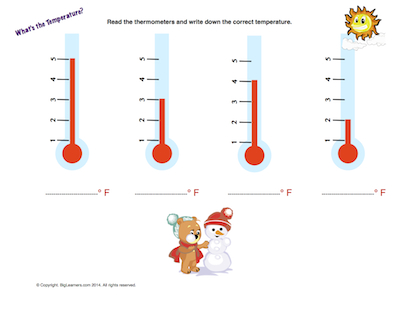 Preview image for worksheet with title What's the Temperature?