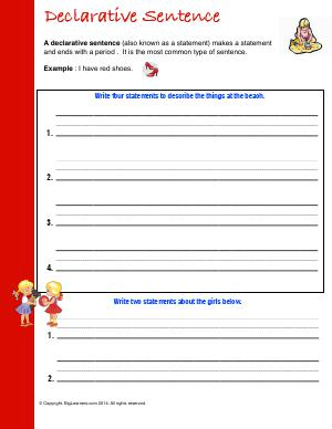 Preview image for worksheet with title Declarative Sentence