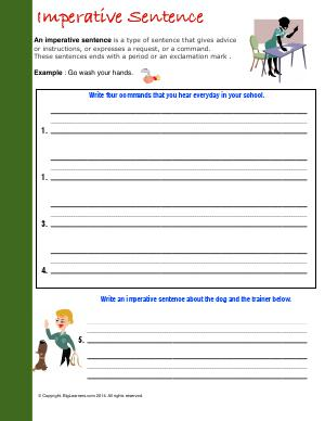 Preview image for worksheet with title Imperative Sentence