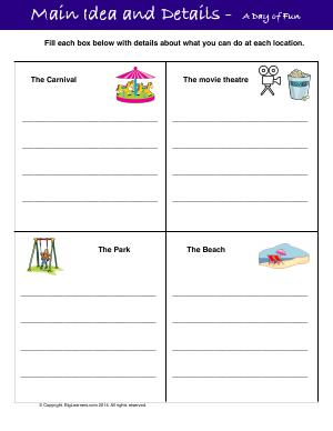 Preview image for worksheet with title Main Idea and Details -  A Day of Fun